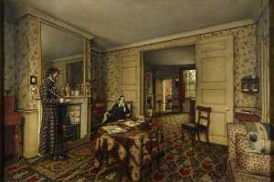 Robert Scott Tait - -A Chelsea Interior- (The Carlyles at Home with Their Dog, -Nero-)