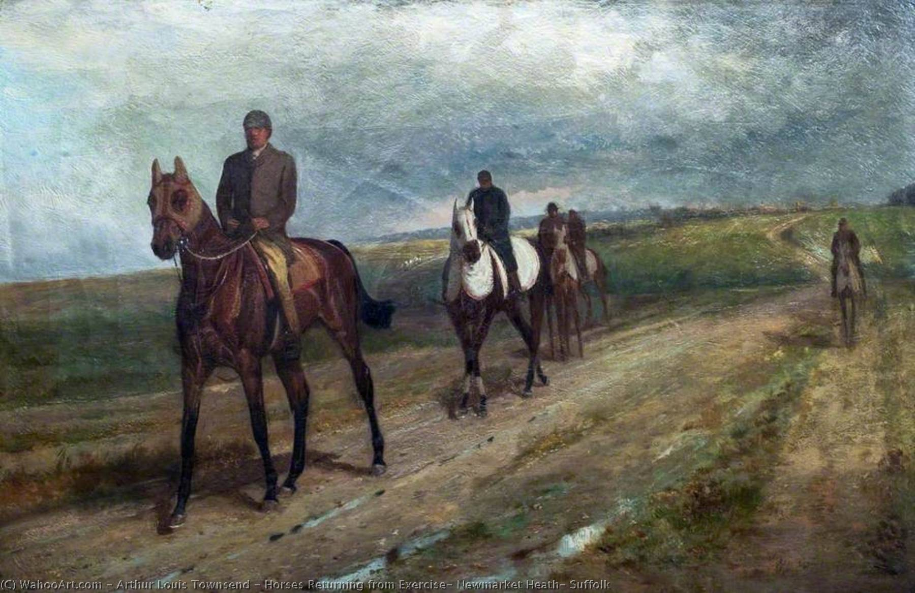 Horses Returning from Exercise, Newmarket Heath, Suffolk, Oil On Canvas by Arthur Louis Townsend