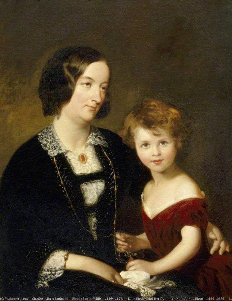 Rhoda Susan Willis (1809–1873), Lady Elton, and Her Daughter Mary Agnes Elton (1844–1926), Later Lady Elton, 1860 by Charles Albert Ludovici (1820-1894) | Paintings Reproductions Charles Albert Ludovici | WahooArt.com