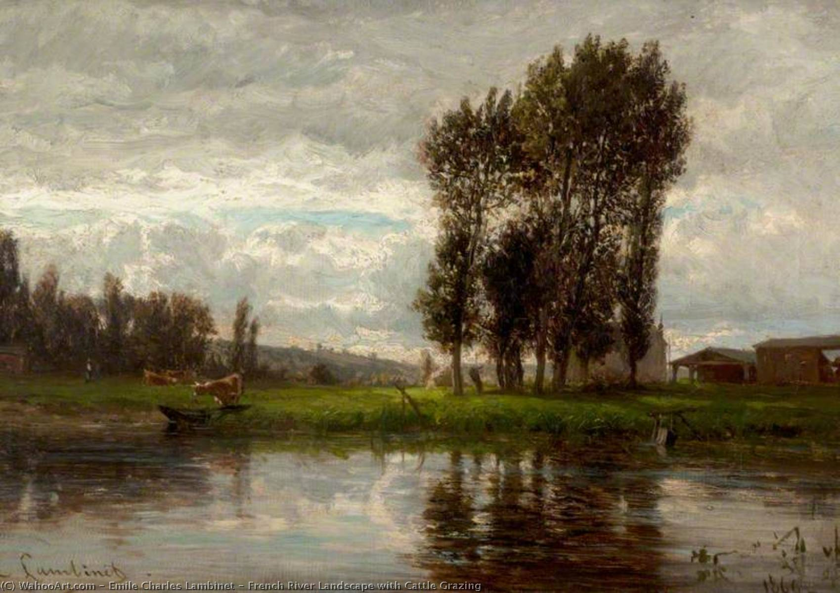 French River Landscape with Cattle Grazing, Oil On Canvas by Emile Charles Lambinet