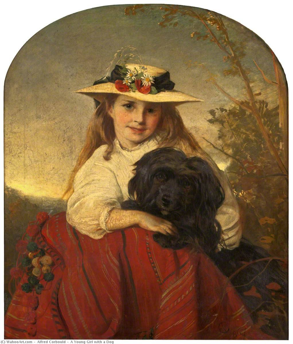 A Young Girl with a Dog by Alfred Corbould | Museum Quality Reproductions | WahooArt.com