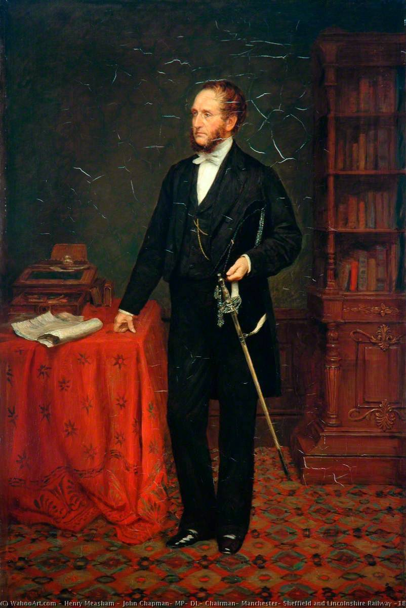 John Chapman, MP, DL, Chairman, Manchester, Sheffield and Lincolnshire Railway (1860–1864), Oil On Canvas by Henry Measham