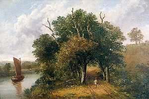 Obadiah Short - Landscape with a Tree Lined Road, a River and a Barge