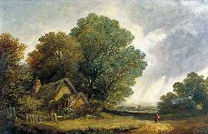 Obadiah Short - Road Scene with a Cottage