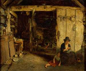 James Digman Wingfield - Cottage Interior, North Wales
