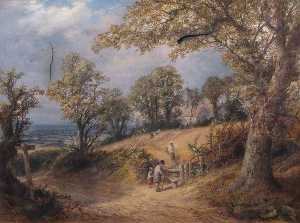 Thomas Whittle - People Crossing a Meadow to Church