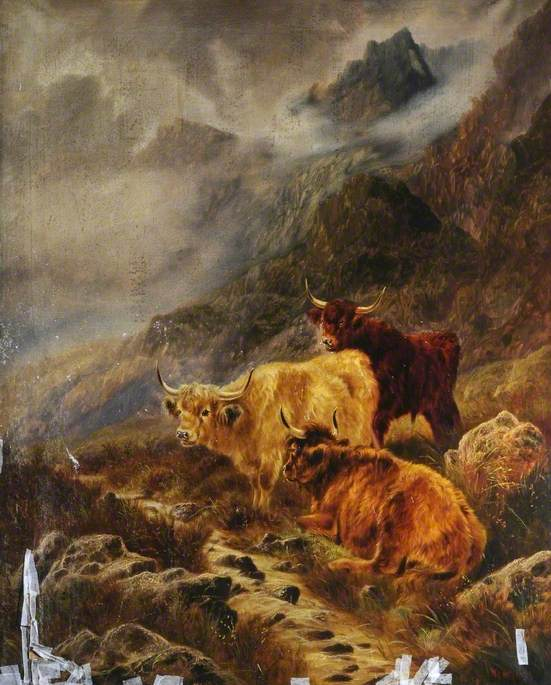 Highland Cattle, Oil On Canvas by William Perring Hollyer