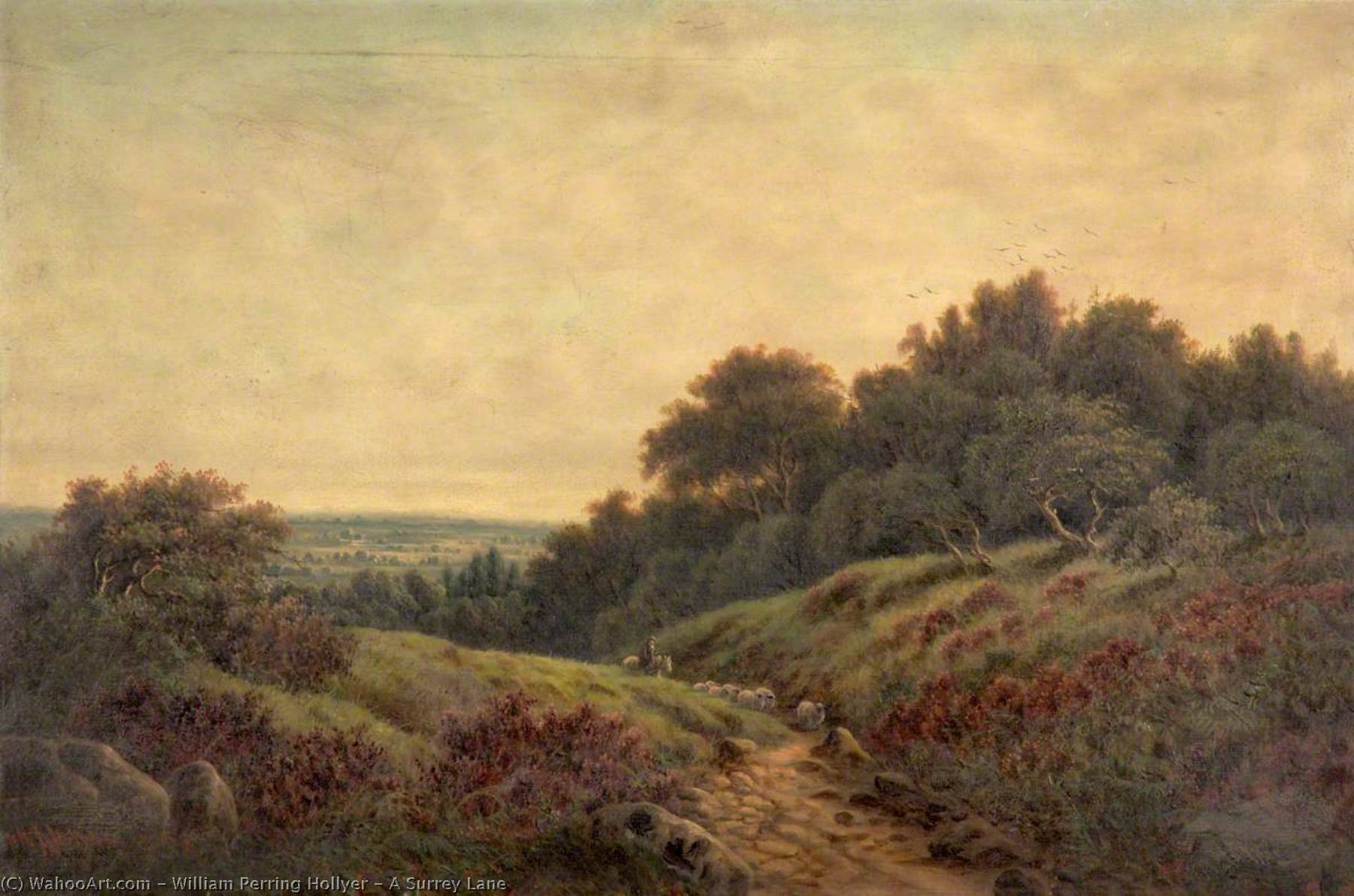 A Surrey Lane, Oil On Canvas by William Perring Hollyer