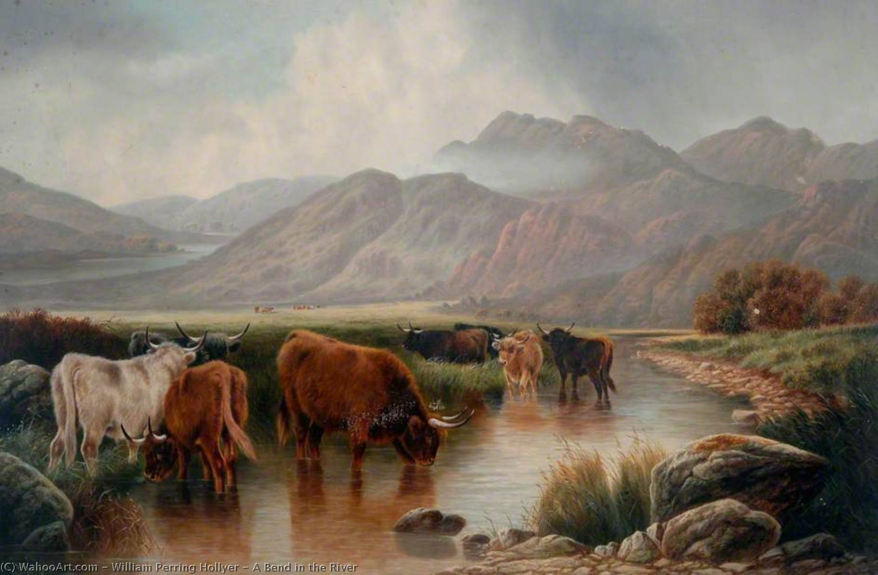A Bend in the River by William Perring Hollyer | Museum Quality Reproductions | WahooArt.com