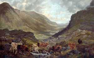 William Perring Hollyer - Scottish Landscape with Cattle