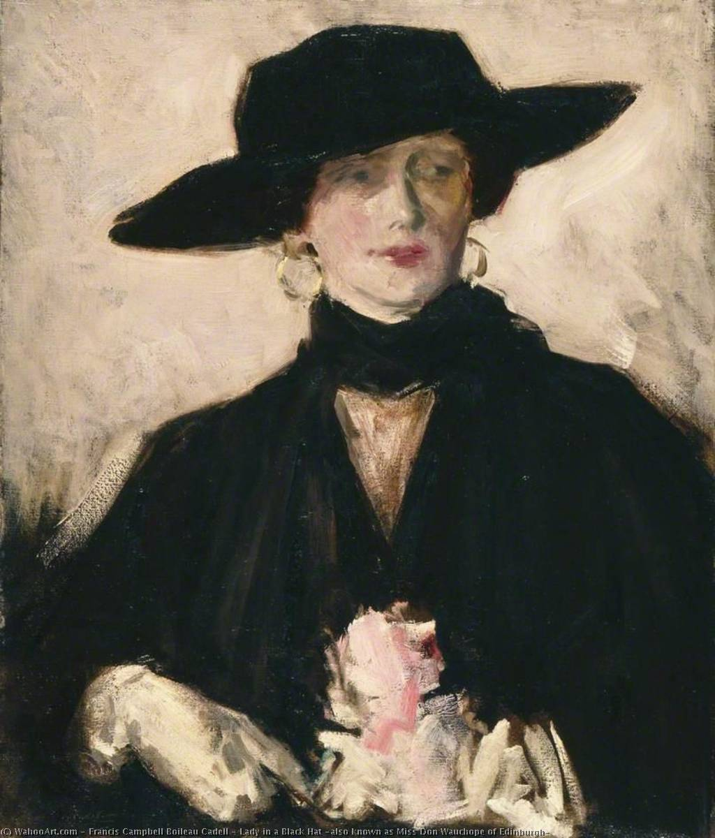 Lady in a Black Hat (also known as Miss Don Wauchope of Edinburgh), 1929 by Francis Campbell Boileau Cadell (1883-1937) | Famous Paintings Reproductions | WahooArt.com