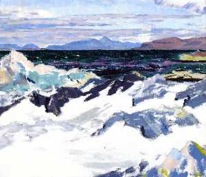 Francis Campbell Boileau Cadell - Island of Rum from Iona
