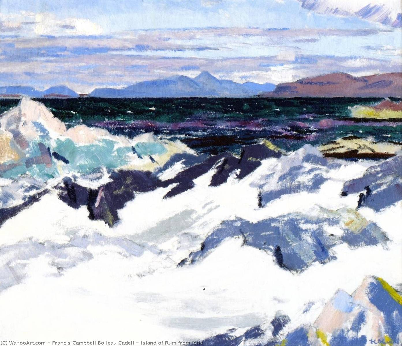 Island of Rum from Iona, Oil On Panel by Francis Campbell Boileau Cadell (1883-1937)