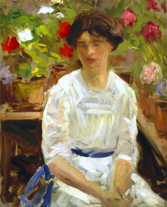 Lady in White, Oil On Panel by Francis Campbell Boileau Cadell (1883-1937)
