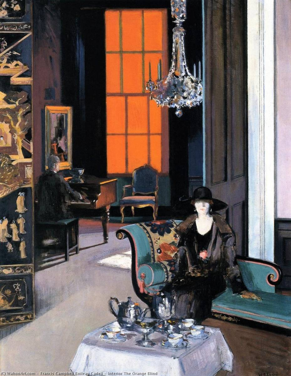 Interior The Orange Blind, Oil On Canvas by Francis Campbell Boileau Cadell (1883-1937)