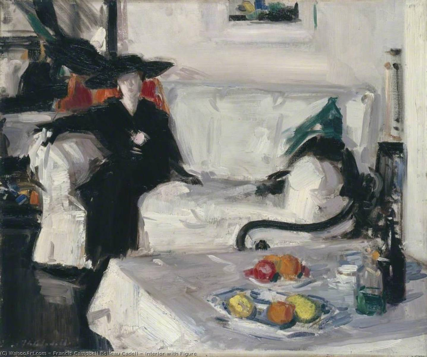 Interior with Figure, Oil On Canvas by Francis Campbell Boileau Cadell (1883-1937)