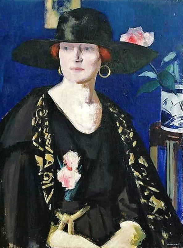 A Lady in Black and Gold by Francis Campbell Boileau Cadell (1883-1937)