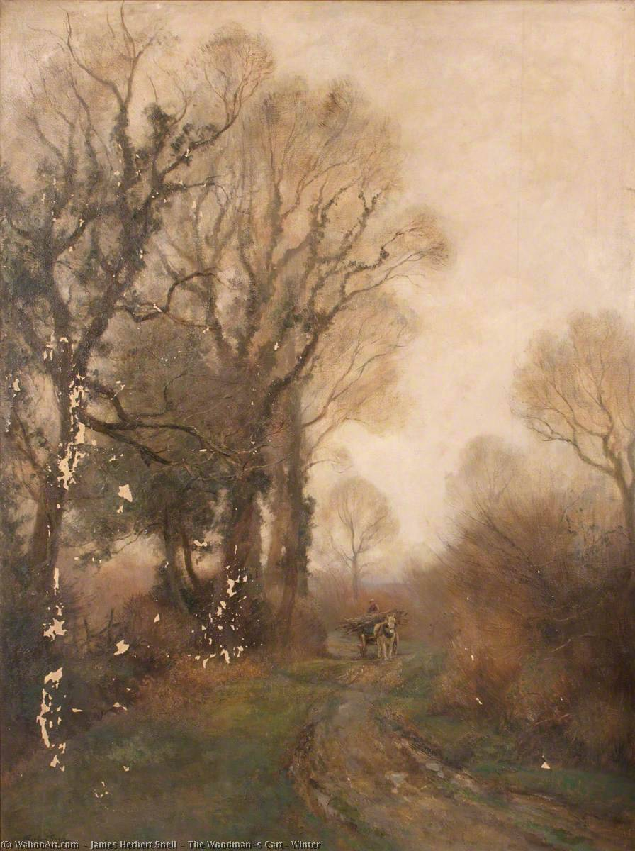 The Woodman's Cart, Winter, Oil On Canvas by James Herbert Snell