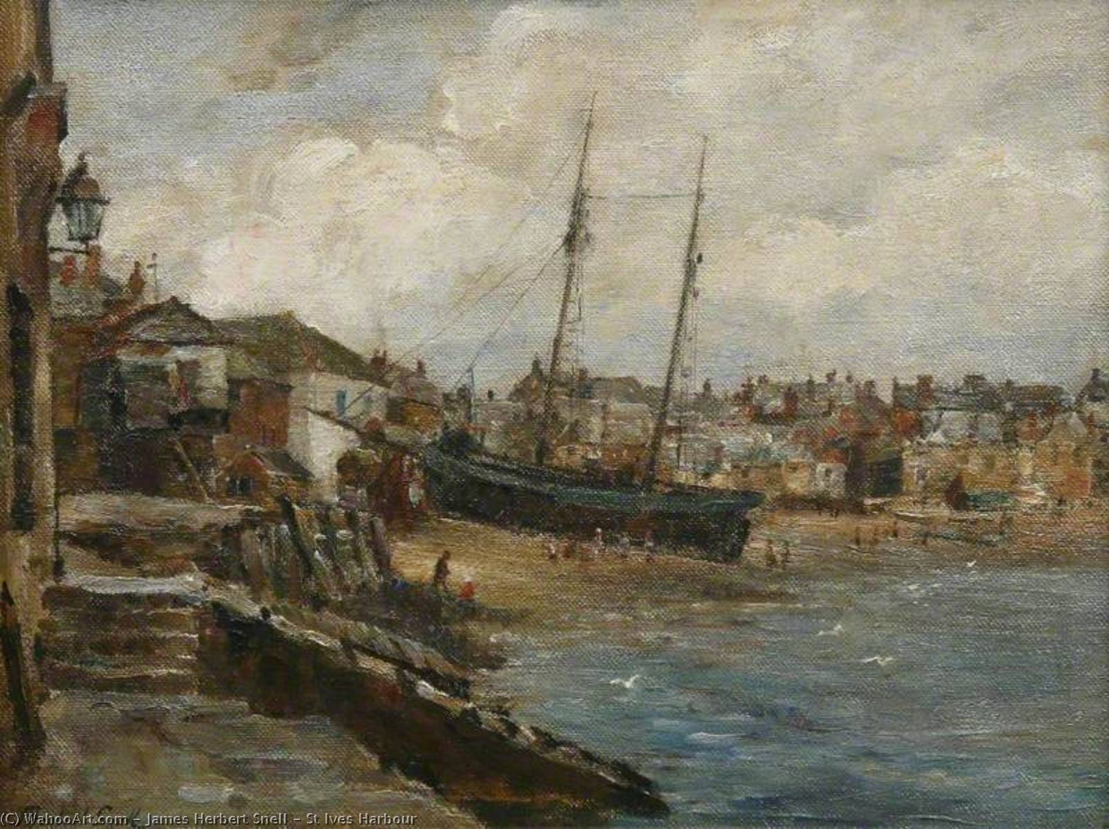 St Ives Harbour, Oil On Canvas by James Herbert Snell