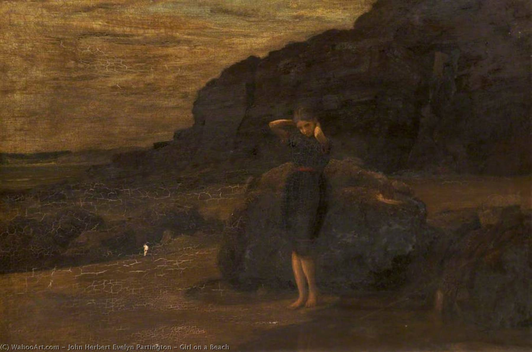 Girl on a Beach, Oil On Canvas by John Herbert Evelyn Partington