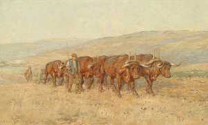 Joseph Harold Swanwick - Oxen Ploughing, South Downs