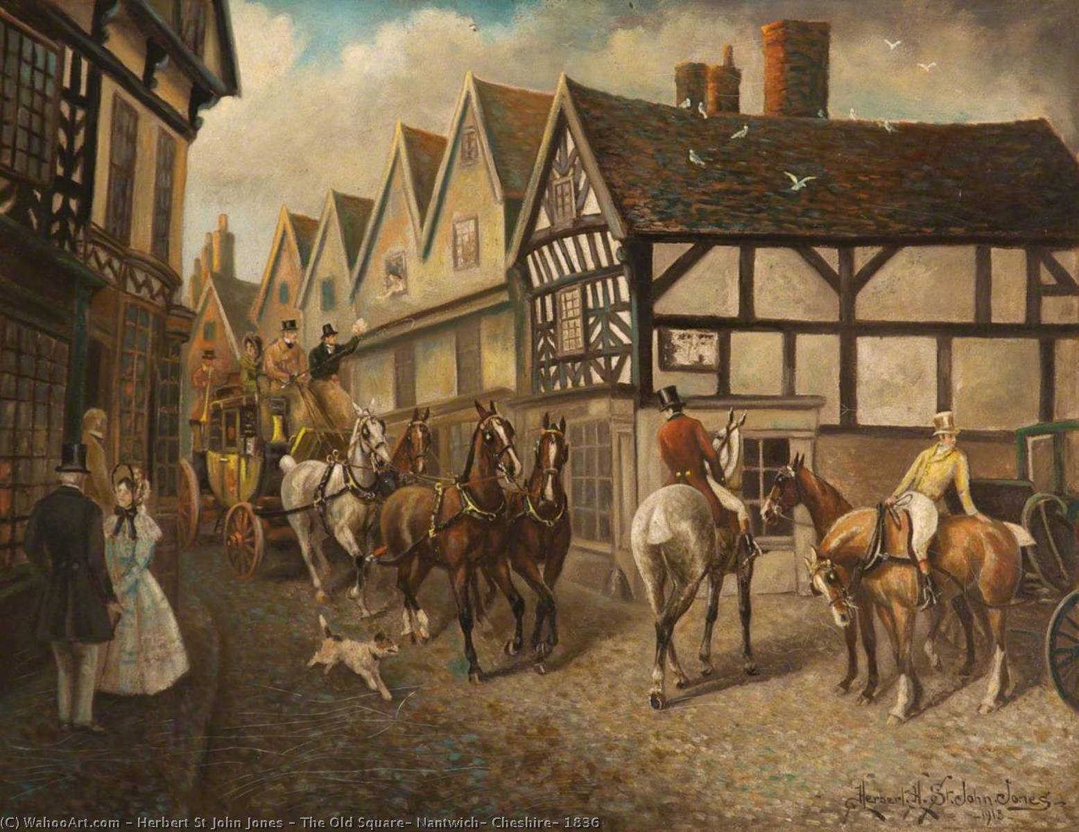 The Old Square, Nantwich, Cheshire, 1836, 1913 by Herbert St John Jones | Museum Quality Reproductions | WahooArt.com