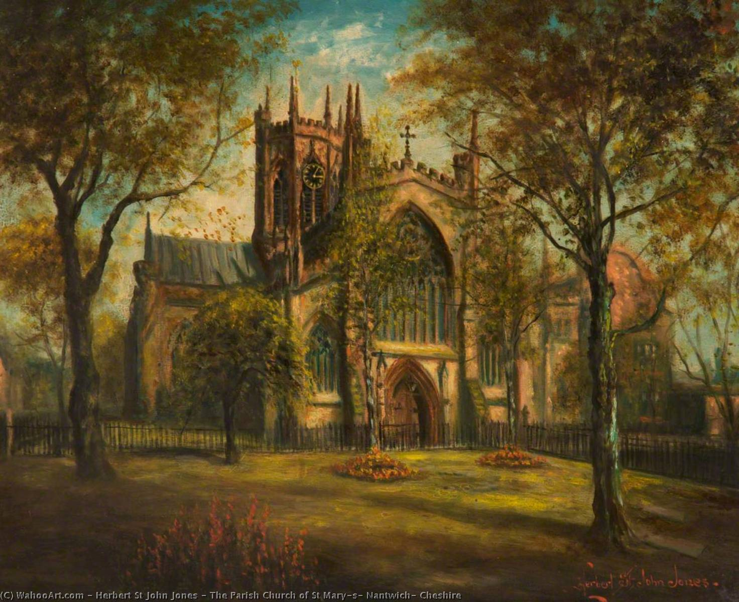 The Parish Church of St Mary`s, Nantwich, Cheshire, 1935 by Herbert St John Jones | Museum Quality Reproductions | WahooArt.com