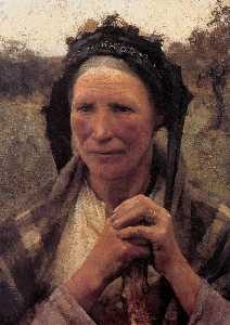 George Clausen - Head of a Peasant Woman
