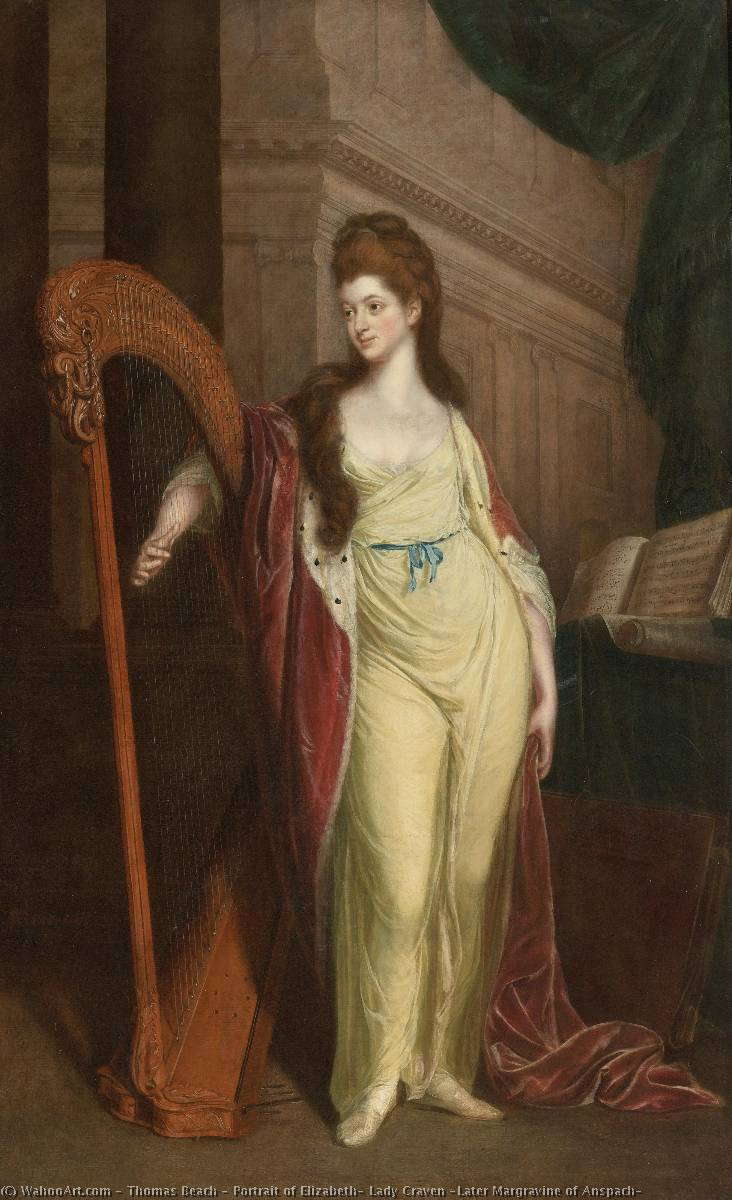Portrait of Elizabeth, Lady Craven (Later Margravine of Anspach) by Thomas Beach | Paintings Reproductions Thomas Beach | WahooArt.com