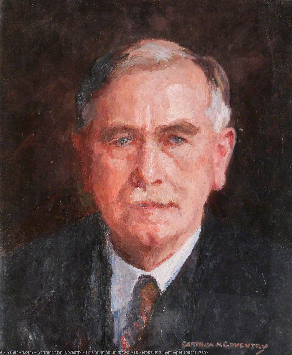 Portrait of an Unknown Man (probably a member of college staff), Oil On Canvas by Gertrude Mary Coventry