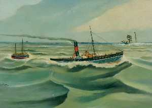 Kenneth Luck - Steam Tug -United Service- Towing the Caister Lifeboat -Covent Garden-