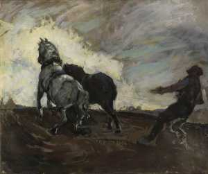 William Watt Milne - A Man Ploughing with Two Horses (sketch)